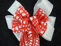 Valentine Bow White hearts printed  on a red by creativelycarole, $9.00