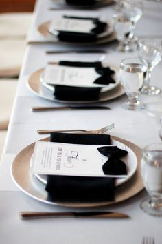 black tie event decorations, bow napkin ties, black and white table setting, bow ties, black and white wedding table, tablescapes black tie, black tie affair, tabl set, black bow
