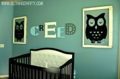 love the owls and color!! Baby Boy Nursery