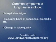 Warning signs of lung cancer.