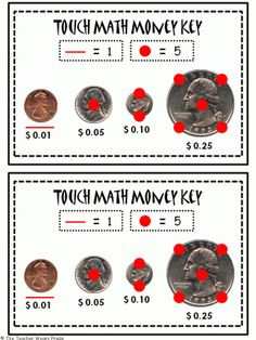 Touch Math Money Reference Strip from The Teacher Wears Prada on TeachersNotebook.com -  (2 pages)