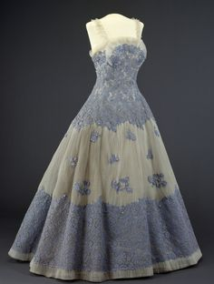 Evening dress, 1955,  From the DIGITALT MUSEUM evening dresses, 1950s, vintag fashion, blue, gala dresses, dress 1955, old styles, vintag cloth, white gowns