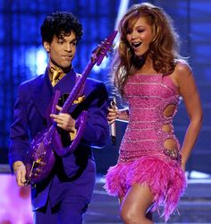 "It got crazy on the 45th GRAMMYs stage in 2003 with the flashily dressed Prince and Beyoncé performing Prince's ""Purple Rain,"" ""Baby I'm A Star"" and ""Let's Go Crazy,"" and Beyoncé's ""Crazy In Love"""