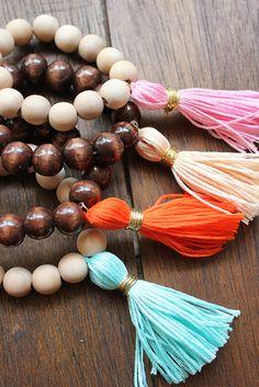 DIY: Wood Tassel Bracelets