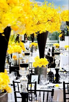 Wedding Theme: Black and White with a pop of an accent color, like canary yellow  I see this matching a super classic hairstyle. With a soft, Hollywood S wave pattern. #Weddingthemes to match #bridalstyle