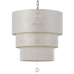 Pendant with a three-tiered fabric drum shade and pierced damask motif.      Product: Pendant    Construction Material: