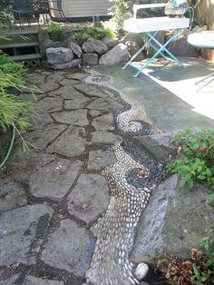 river rocks, rock patio