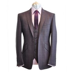 William Hunt Mens Purple Prince Of Wales Three Piece Suit