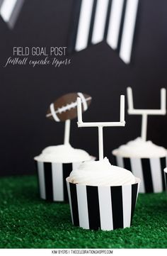 DIY Field Goal Post Cupcake Toppers – Football Party Food | Kim Byers, TheCelebrationShoppe.com #tailgating #football