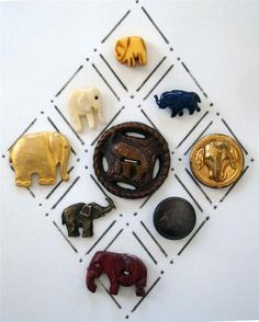 ButtonArtMuseum.com - 9 Vintage Elephant Buttons: Top button is bakelite followed by carved bone & celluloid. Middle button is Burwood flanked by 2 metal buttons.  4th row buttons are metal & leather & bottom button is wood / eBay