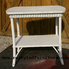 Vintage White Wicker Table