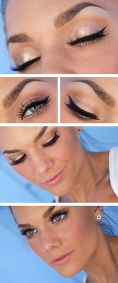 Linda Hallberg Make-up. Natural with winged eye liner.