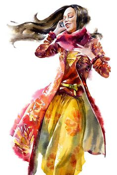 """Watercolor Girls"" - Alex Yermolin {contemporary figurative fashion illustrator artist beautiful standing female colorful woman watercolor painting}"