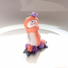 Christmas snowman ornament shabby chic inspired in lilac and coral by fizzyclaret
