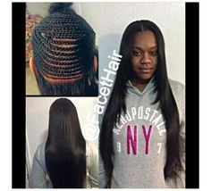 Full head sew in weave with parameter left out.  Can be worn in high ponytails.  Done by me @Maryam Hasan