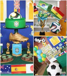 World Cup Soccer themed dessert table
