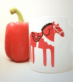 Dala Horse Mug - Swedish inspired, Retro, Kitchen gift.. £5.50, via Etsy.