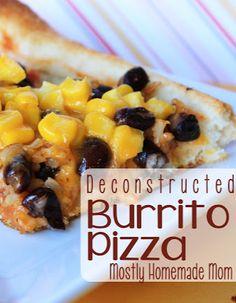 Deconstructed Burrito Pizza - burrito filling on a pizza, genius!!