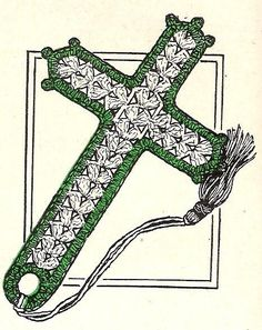 Vintage Crochet Bible Bookmark Pattern Thread Cross.