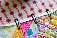 Awesome idea to hold fabric while binding...and its how to bind website