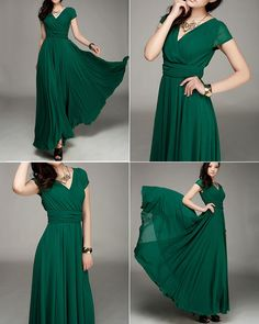 Cap Sleeve Green Maxi Dress