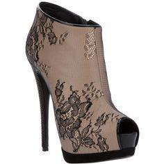 Giuseppe Zanotti Design Lace peep toe boot ($68,395) ❤ liked on Polyvore