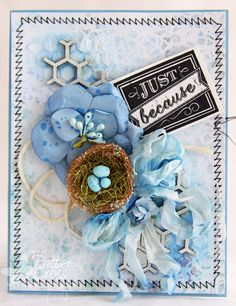 Card by Patter Cross using the new Blue Fern Studios Ombre Dreams papers and the Bits of Honey chipboard.