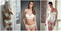 Fuller bust bridal lingerie collections. Left to right: Masquerade Serenity, Fauve Rosa and Elomi Maria.