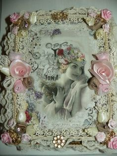 Gorgeous  Jewelry box 2 opera-shabby,chic,roses,french,marie antoinette,jewelty vintage antique,pearls