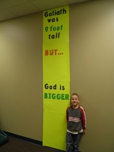 God is bigger! Great activity idea for the David and Goliath story! sunday school lesson, church, bible kids crafts, sunday school crafts, david and goliath craft, christian crafts, sunday school activities, preschool, bible school crafts