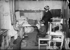 family in cramped quarters, 1900's