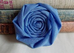 Something Blue Wedding Bridal Dress Applique Rosette Fabric Flower Rosette in Blue 3 inches Home Decor Wedding Decor Bridal DIY Azure