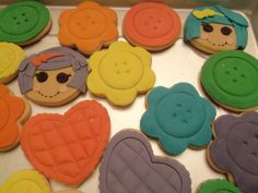 "lalaloopsy cookies - buttons, flowers, hearts (I ended up doing hearts and buttons without any ""icing/fondant"" on top)"