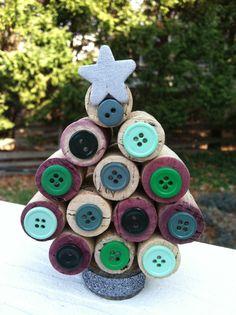 Cork Christmas Tree - Green Buttons