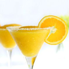 Skinny Mango Margarita: 3/4 cup frozen mango cubes, 1 ounce tequila, 1 ounce lemon juice, 1 teaspoon triple sec, blend. Could use any frozen fruit.