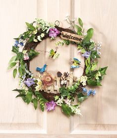 Spring Garden Floral Welcome Wreath