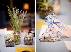 Eco friendly rosemary, lavender, succulent, and river rock wedding centerpieces