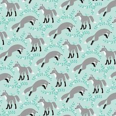 Socks the Fox in Aqua Fabric Les Amis Patty Sloniger by FabricBubb, $4.50
