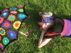 Granny Square Parasol And Embellished Rainbow Crochet Top by babukatorium, via Flickr