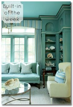 A corner bookshelf is so perfect for a small space! Plus other great built-ins in this series. via @fieldstonehill built-in of the week :: stunning corner bookshelf