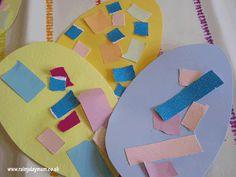 Toddler easter egg collages - make many to form a banner/garland