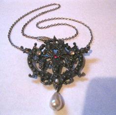 Antiqued Vintage Revival Lavalier Style Pearl Drop by Trash2Treas, $20.00