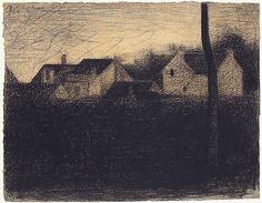 Landscape with Houses  Georges Seurat  (French, Paris 1859–1891 Paris)  Date: 1881–82 Medium: Conté crayon Dimensions: 9 13/16 x 12 9/16 in. (24.9 x 31.9 cm) Classification: Drawings