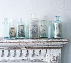 antique bottles, display photos, vintage bottles, vintage photos, family photos, photo displays, old pictures, picture frames, old bottles