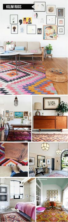 kilim rug. Love the graphic patterns and gorgeous colors.