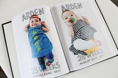 Take a picture of baby every week and print as a photo book. #baby #photos