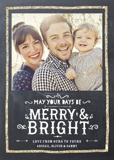 All is merry and bright with this golden greeting in glitter and slate grey.