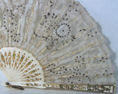 1900s Rare Antique Lace Fan 15.5 inches      From SellOriginals