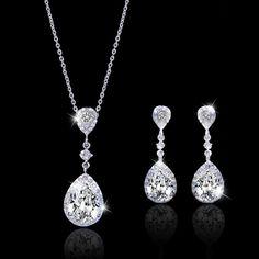 Flawless Zircon Tear Drop Bride Jewelry Set, Swarovski Crystal Wedding Set, Bridal Necklace Earring Set, Bridesmaid Jewelry-151884207