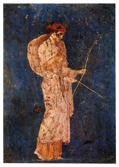 Diana the huntress. Roman fresco recovered from Vesuvian Ash in Stabiae. c. 1st century BCE-1st century CE. #goddess